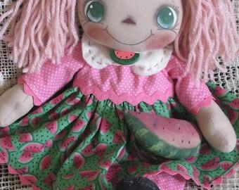 Primitive Raggedy Ann Watermelon Annie