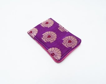 Card case, purple and gold, Indian sari fabric