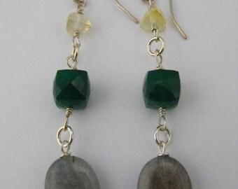Beautiful Citrine, Green Quartz, and Labradorite Silver Dangle Earrings