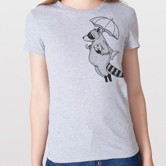 Raccoon with Umbrella Womens T-Shirt Small, Medium, Large, XL in 7 Colors