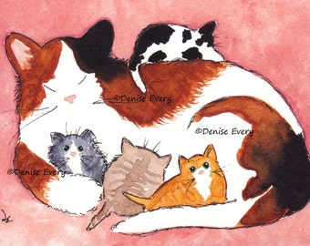 Calico Cat Art Print Mama Cat Kittens Spotted Black Cat Print Tabby Cat Calico Cat Lover Cat Gift Cat Print Cat Art Print Denise Every