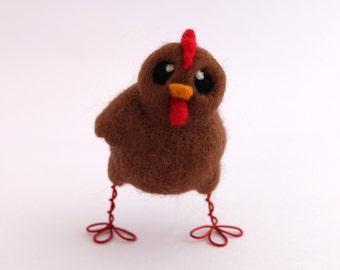 Chicken Needle Felted Brown Chicken Farmyard Bird