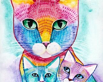 Rainbow Mom and Kittens - Original Cat Folk Art Print 5x7, 8x10, 11x14, 16x20