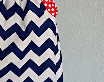 Dress - red white blue navy chevron zigzag baby toddler 0-3  3-6 6-12  12-18  18-24, 2T, 3T 4T 5T 6 7 nautical USA