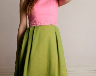 Vintage 1960s Dress - Sweet Pink and Olive Green Chiffon Day Dress - Small Medium
