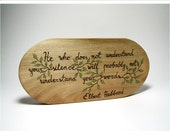 Hubbard Quote - Rustic Organic Natural Plaque Wooden Ornament Wall Hanging Standalone by Tanja Sova