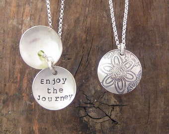 Flowers, Enjoy the Journey, Recycled Sterling Clamshell Necklace