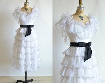 SALE /// 1970s White Ruffle Dress --- Vintage Wedding Dress