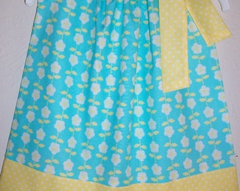 Pillowcase Dress with Flowers Floral Dress with Daisies Summer Dresses Girls Dresses Blue and Yellow Summer Clothes for girls Baby Gifts