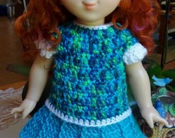 Crochet outfit 18 inch Fancy Nancy Headband Dress Maryjane Blues Greens Aqua White Flared skirt Flower