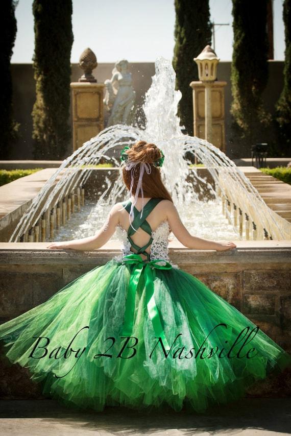 Lace Dress Flower Girl Dress Emerald Dress Green Dress  Wedding Dress Princess Dress Party Dress Baby Dress Toddler Tutu Dress Girls Dress
