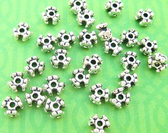 14 Flower Beads, Daisy Spacers, Silver Plated, Tri Cut Beads, Textured Beads, 3mm x 6mm, Spacer Beads, Silver Beads, DIY Jewelry, TS521B