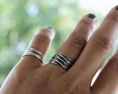 Triple Wrap Sterling Silver Ring / Oxidized Wrapped Stacking Ring / Minimalist Geometric Punk Boho Jewelry / GUGMA Women's Men's Handmade