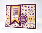 Happy Birthday Card - Pennant Birthday Card - Hand Stamped in Purple and Gold