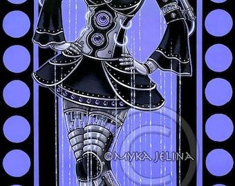 SALE Purple Fairy Cybergoth Robot Android Glitch Original Acrylic Painting