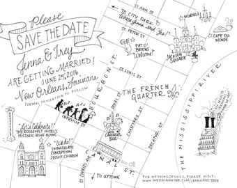 Custom Wedding Map -- Pen and Ink Only -- Digital File