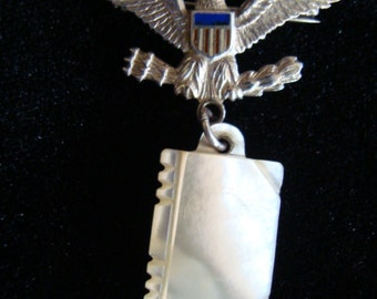 WWII USAAF Sweetheart Pin Eagle with Mother of Pearl Dangle Book