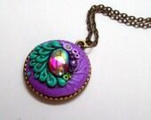 Blue Violet Garden Pendant Necklace, Handmade
