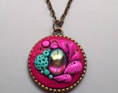 Super SALE! Magenta Garden Pendant Necklace, Handmade