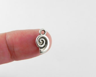 24 Spiral Sea Shell Charms in Antiqued Silver - 12mm x 7mm x 2mm - Tibetan Style -- Double Sided Seashell