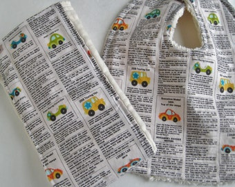 Cars Bib and Burp Cloth Set
