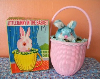 Vintage Little Bunny in the Basket Wind Up Toy Japan 1960's
