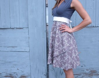 Chickadee Wrap Dress ~ Organic Cotton ~ Made to Order
