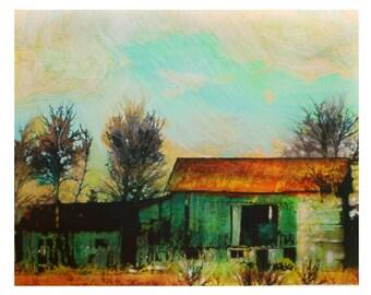 Autumn setting sun, 16x20 inches, mixed media photograph, Barn, countryside, wall art, art, barn photograph, original art #Barn art #Barns