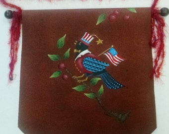 Prim Patriotic Crow Cherries Banner Flag Fabric Canvas