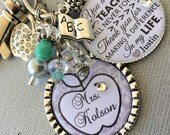 PERSONALIZED Teacher Gift CHARM Thank you for helping me grow end of year gift inspirational quote, daycare, babysitter, apple charm, book