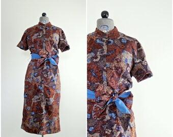 Vintage 1950s Wiggle Dress • 50s Dress • 1950s Dress Small • 1950s Dress Medium • 50s Wiggle Dress • 1950s Sheath Dress • 1950s Print Dress