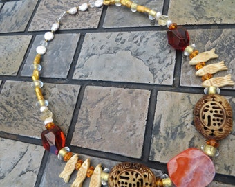 Colleen Carved Stone Statement Necklace