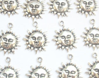 10 Celestial Sun Face Charms Silver Tone Metal 22mm