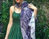 Wings Scarf / Bohemian Dusty Purple Shawl / Sarong Hand Painted and Digitally Printed, perfect Valentine gifts.