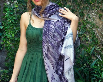 Cotton Sarong, Grandmother Gift, Sarong Cover Up, Cotton Shawl, Unique Scarf, Purple Pareo, Oversize Scarf, Summer Shawl, Pattern Scarf