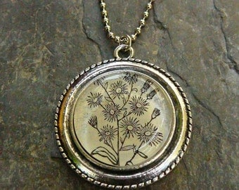 Aster dictionary illustration pendant necklace