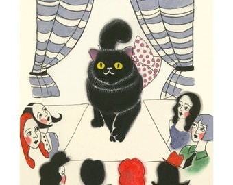 "Black cat artwork cat art print -  CATwalk  - 8.3"" X 11.8""  PRINT - 4 for 3 SALE"