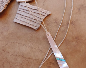 Prehistoric Southwestern Replication Technique + Mother of Pearl and Turquiose Inlay Necklace with Handmade Turquoise Beads + Handwoven Cord