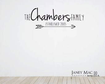 Vinyl Family Lettering Wall Decal - Modern Arrow Family Established Wall Decal Sticker - Home Wall Decor - HWL168A