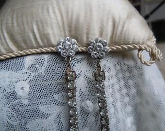 Vintage Faux Diamante Very long Earrings