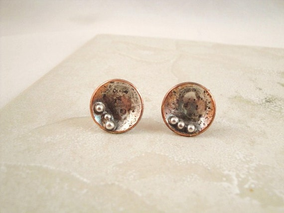Copper and sterling silver round earrings. Stud earrings. Button. Dots. Pebbles. Everyday wear. Abstract. SRAJD. Devine Designs Jewelry