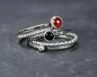 Hammered Silver Stacking Rings with Carnelian and Onyx, Beaded Sterling Bands, Black and Red Gemstones