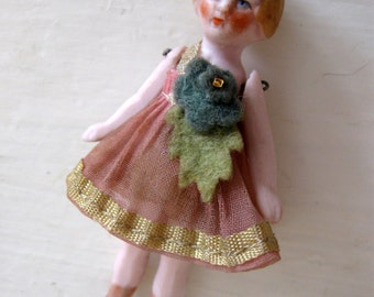 RESERVED Antique German Dollhouse Bisque Flapper Doll in Pink Dress with Felt Rose