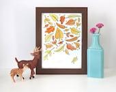 5x7 Original Watercolor Painting - Framed - Autumn Leaves Nature Artwork Woodland fall orange