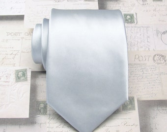 Mens Tie Silver Neckties. Silver Wedding Ties With Matching Pocket Square Option