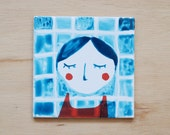 Small illustrated tile Swimmer (mixed media)