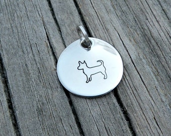 Stamped Charm - Pendant - Chihuahua - Dog