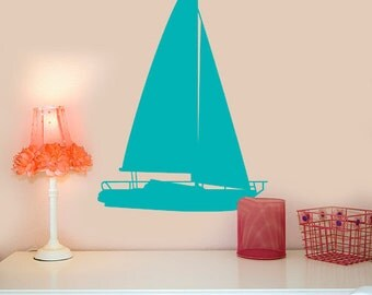 """Large Sailboat Vinyl Decal Nautical Decor Wall Decals, Choose your Color, 24"""" X 36"""", Big Wall Decor, Sailing Gift, Lake house decorations"""