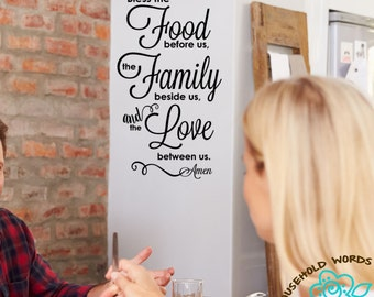 Bless the Food before us and the Family beside us and the Love between us Amen, Vinyl Wall Decal Words Kitchen Decor, Household Words Decal