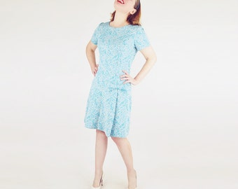 60s Blue and Silver Poly Jacquard Knit Mod Shift Dress with Bow & Buttons L